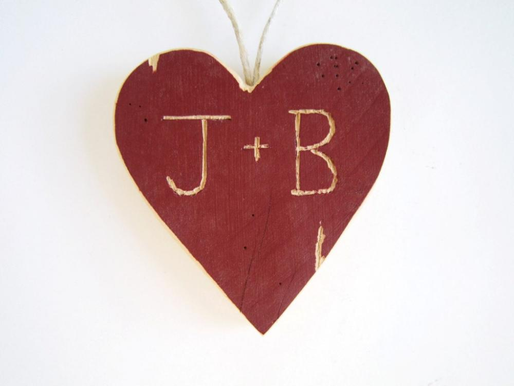 Personalized Wooden Heart Rustic Wedding Decor your initials red/white rustic wedding wood heart personalized wedding gifts barnwood